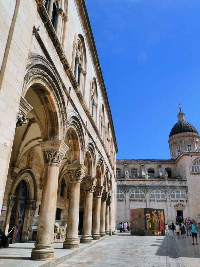 The arches on the fascade of Rector's palace inside the old town of Dubrovnik