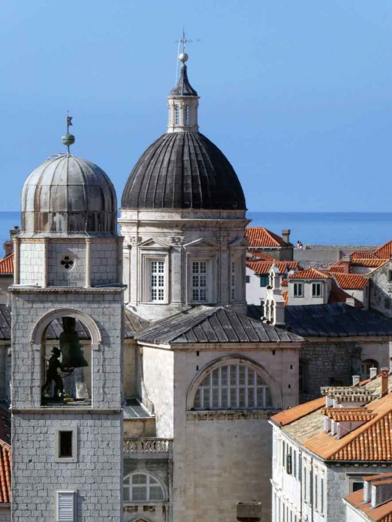A view of the red rooftops and domeed roofs of the catheral from the Wall Walk around Dubrovnik Old Town