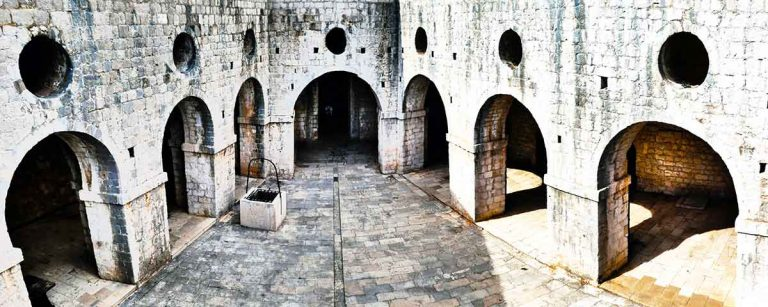 Arches inside the fortress just outside of Dubrovnik old town