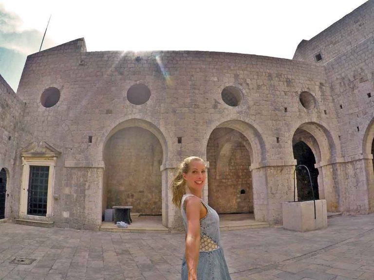 Selfie image of me infront of the arches inside the Fortress at Dubrovnik