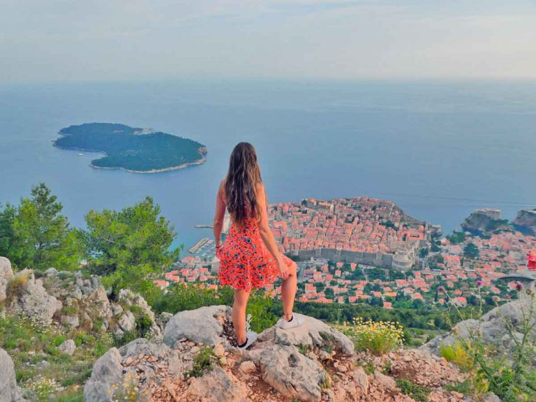 The view of Dubrovnik Old Town with Lokru island in the background taken from and outlook at the top of Srd Hill