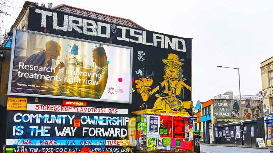 Discover the Cultural Quarter of Bristol to see the stunning street art and learn about how Stokes Croft Bristol has become the City's Hippest area and why the Bristol Street Art scene is so important here. #Bristol #StreetArt #VisitBritain