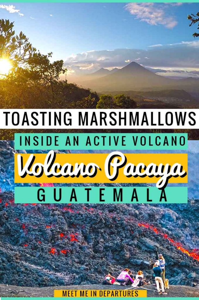 Ever wondered if you can toast a marshmallow with some rocks? If you do the Pacaya Volcano Hike in Guatemala you can do just that on a crazy trek up a volcano. For one helluva crazy experience, go on the Pacaya Volcano Hike just outside of Antigua. The active volcano is still warm underground so you can toast a marshmallow in the heat of it. This is certainly something you need to add to your Guatemala itinerary. #Volcano #BucketList #Guatemala #CentralAmerica