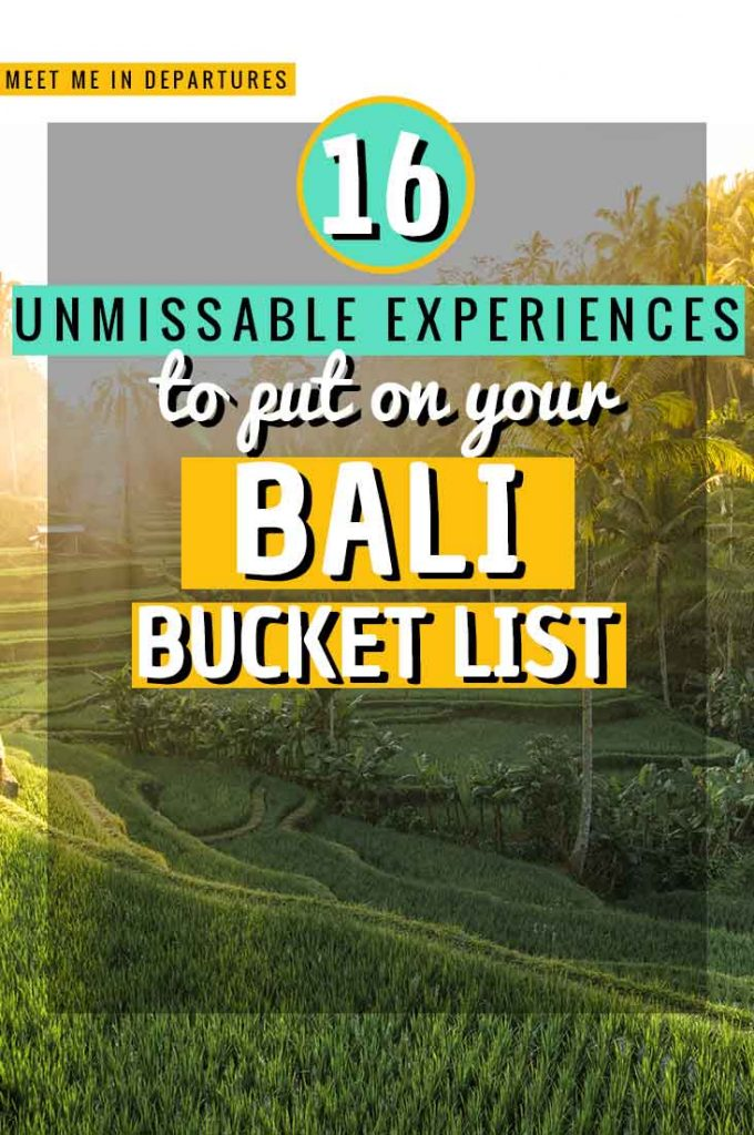 The Ultimate Bali Bucket List: Incredible things to do & see in Bali, all the things you need to add to your Bali itinerary. The most stunning temples, beautiful beaches, unusual local wildlife, magical looking infinity pools, iconic rice paddies and jaw-dropping waterfalls and Instagrammable sites. INCLUDES FREE DOWNLOADABLE LIST #Bali #Indonesia #BucketList