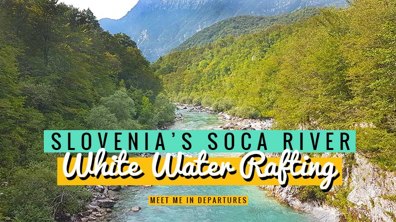 Experience exhilarating white water rafting in Slovenia on the stunning turquoise Soča River. All the reasons why this needs to be on your Slovenia bucket list. One of the top things to do in Slovenia. Find out about adventure sport in Slovenia and adrenalin sport in Slovenia. Near to Bovec in the Julian Alps. This is a must-do when you visit Slovenia. The Soca River runs through beautiful Slovenia countryside. #Slovenia #EasternEurope #Europe #AdventureLovers