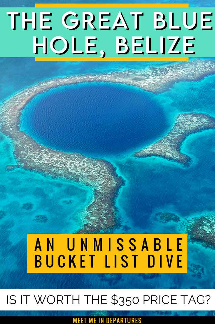 Is the Belize Blue Hole tour really worth a $350 price tag? Find out what it's REALLY like to dive the Belize Blue hole. And YES! it's worth every dollar! Everything you need to know about diving the Great Blue hole. One of the top things to do in Belize that needs to be on your Belize Bucket list. #Belize #GreatBlueHole #CentralAmerica